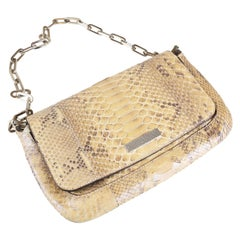 Gucci Tan Python Flap Shoulder Bag with Chain Link Strap