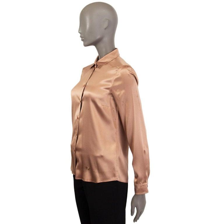 Beige GUCCI tan silk SATIN Button Up Shirt 40 S