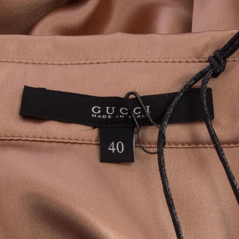 Women's GUCCI tan silk SATIN Button Up Shirt 40 S