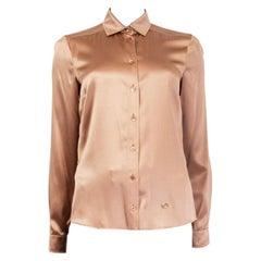 GUCCI tan silk SATIN Button Up Shirt 40 S
