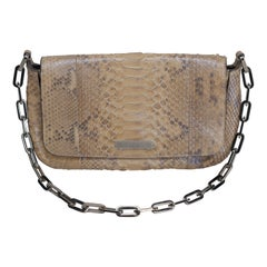 Gucci Tan Small Python Flap Shoulder Bag with Chain Link Strap