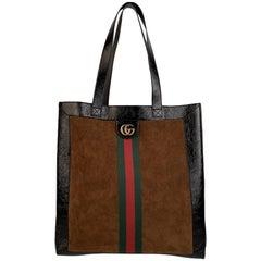 Gucci Tan Suede Signature Web Ophidia Large Tote Bag Leather Trim