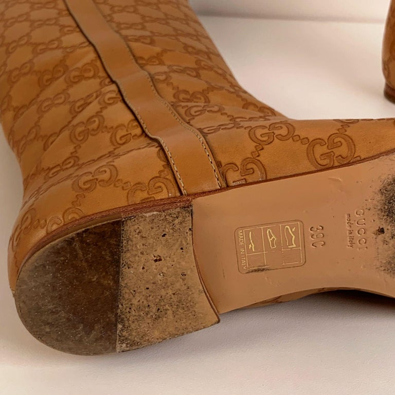 Gucci Tan Whisky Guccissima Leather Britt Flat Boots Size 39 C For Sale 6