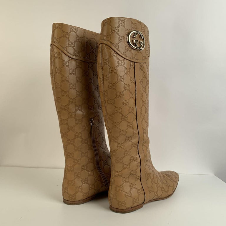 Gucci Tan Whisky Guccissima Leather Britt Flat Boots Size 39 C For Sale 8