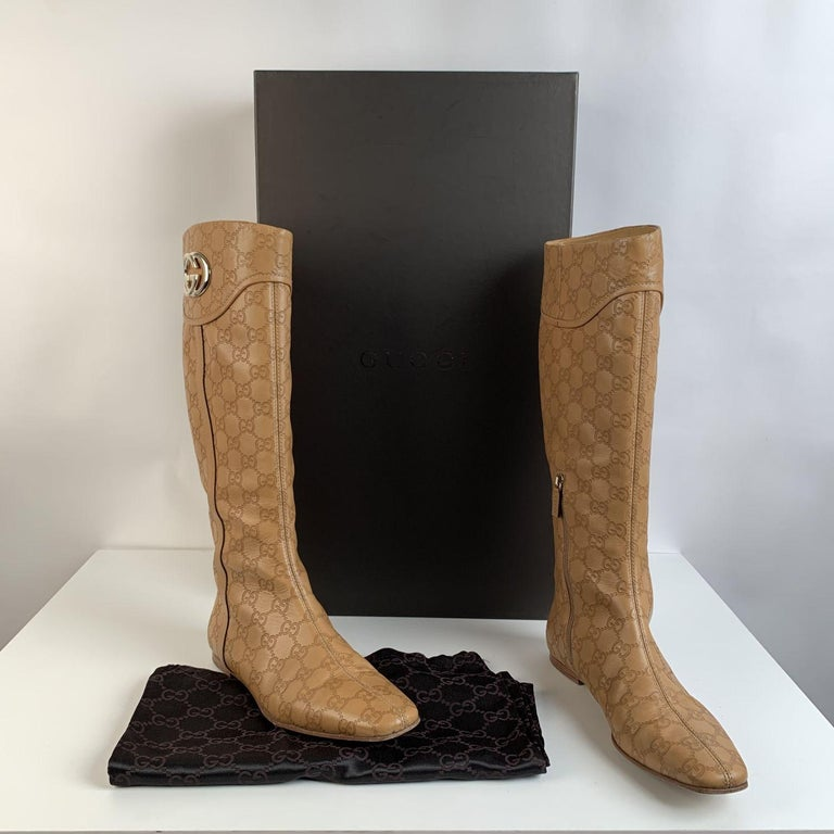 Brown Gucci Tan Whisky Guccissima Leather Britt Flat Boots Size 39 C For Sale