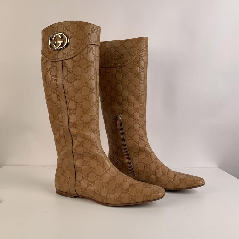 Women's Gucci Tan Whisky Guccissima Leather Britt Flat Boots Size 39 C For Sale