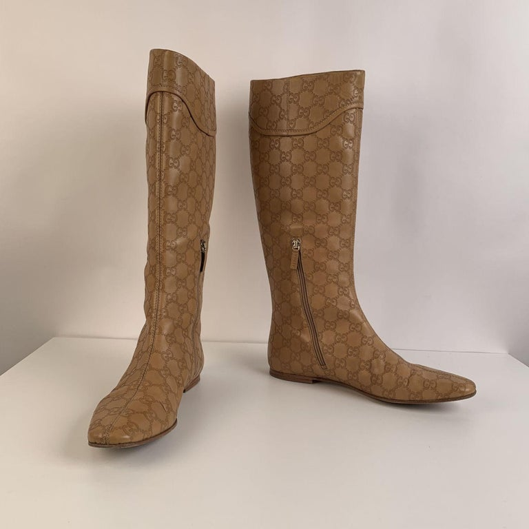 Gucci Tan Whisky Guccissima Leather Britt Flat Boots Size 39 C For Sale 2