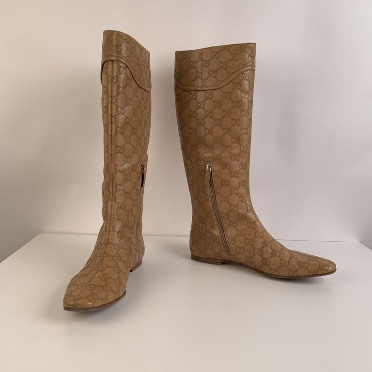 Gucci Tan Whisky Guccissima Leather Britt Flat Boots Size 39 C For Sale 3
