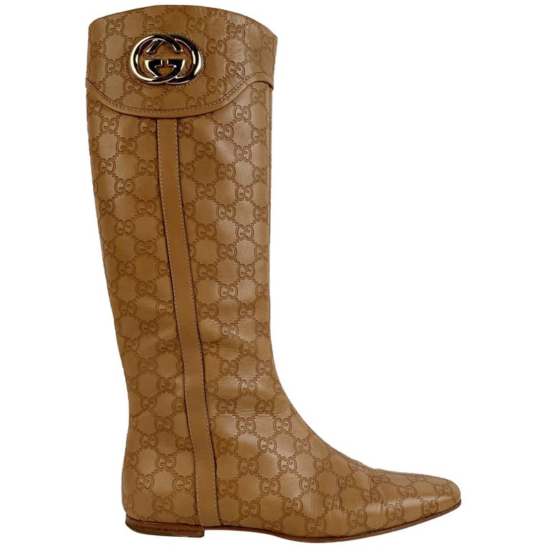 Gucci Tan Whisky Guccissima Leather Britt Flat Boots Size 39 C For Sale