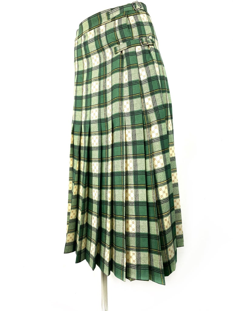 Women's Gucci Tartan Check Pleated Wool Maxi Skirt, Size 40 For Sale
