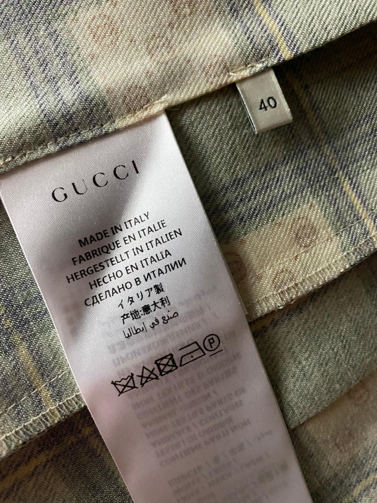 Gucci Tartan Check Pleated Wool Maxi Skirt, Size 40 For Sale 3