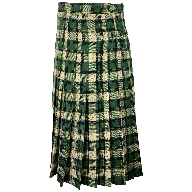 Gucci Tartan Check Pleated Wool Maxi Skirt, Size 40