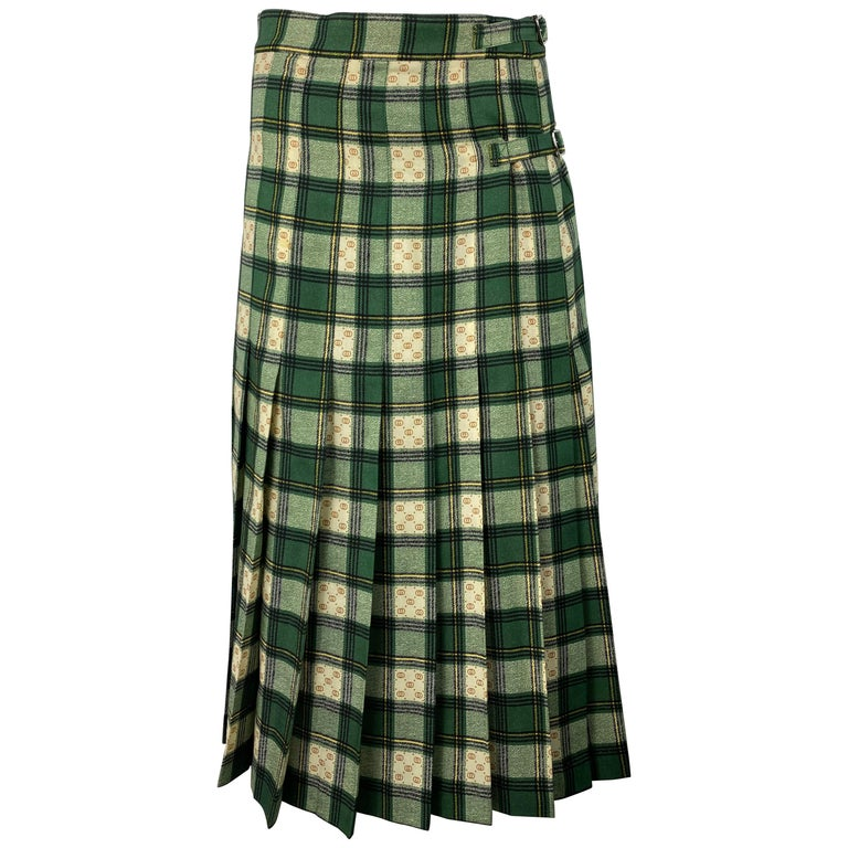 Gucci Tartan Check Pleated Wool Maxi Skirt, Size 40 For Sale