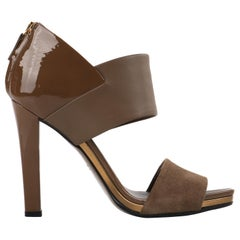 GUCCI Taupe Brown Patent Leather & Suede Vamp Open Toe Heel - Size 37