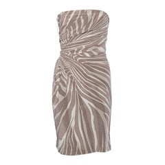 GUCCI taupe & cream silk ZEBRA Strapless Cocktail Dress 42