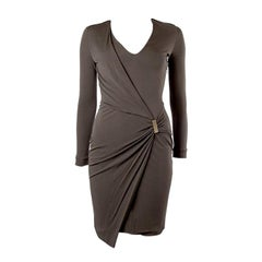 GUCCI taupe jersey Long Sleeve Wrap Dress XS