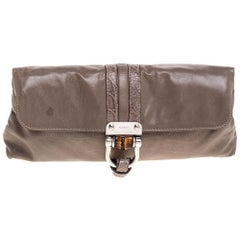 Gucci Taupe Leather Croisette Clutch