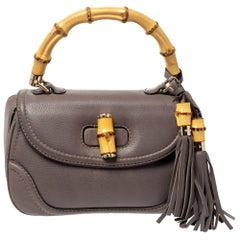Gucci Taupe Leather Tassel New Bamboo Top Handle Bag