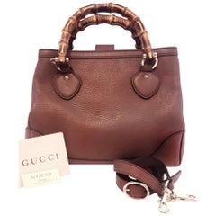 Gucci Taupe Pebble Leather Bamboo Handle Bag