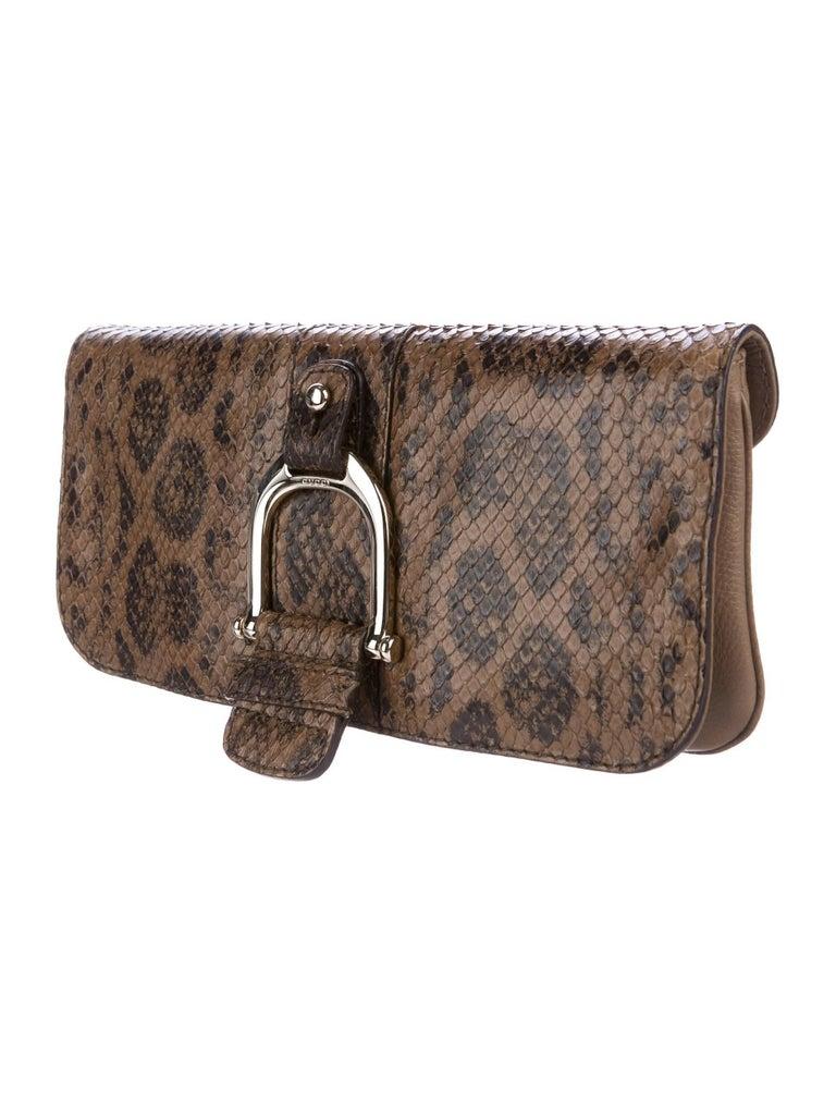 Brown Gucci Taupe Snakeskin Leather Gold Horsebit Evening Envelope Flap Clutch Bag