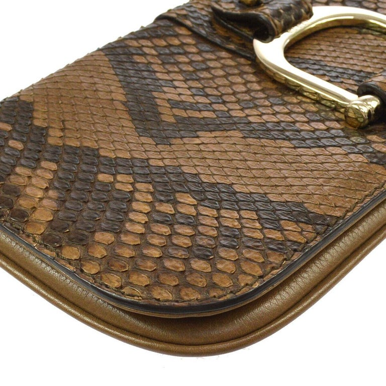 Women's Gucci Taupe Snakeskin Leather Gold Horsebit Evening Envelope Flap Clutch Bag