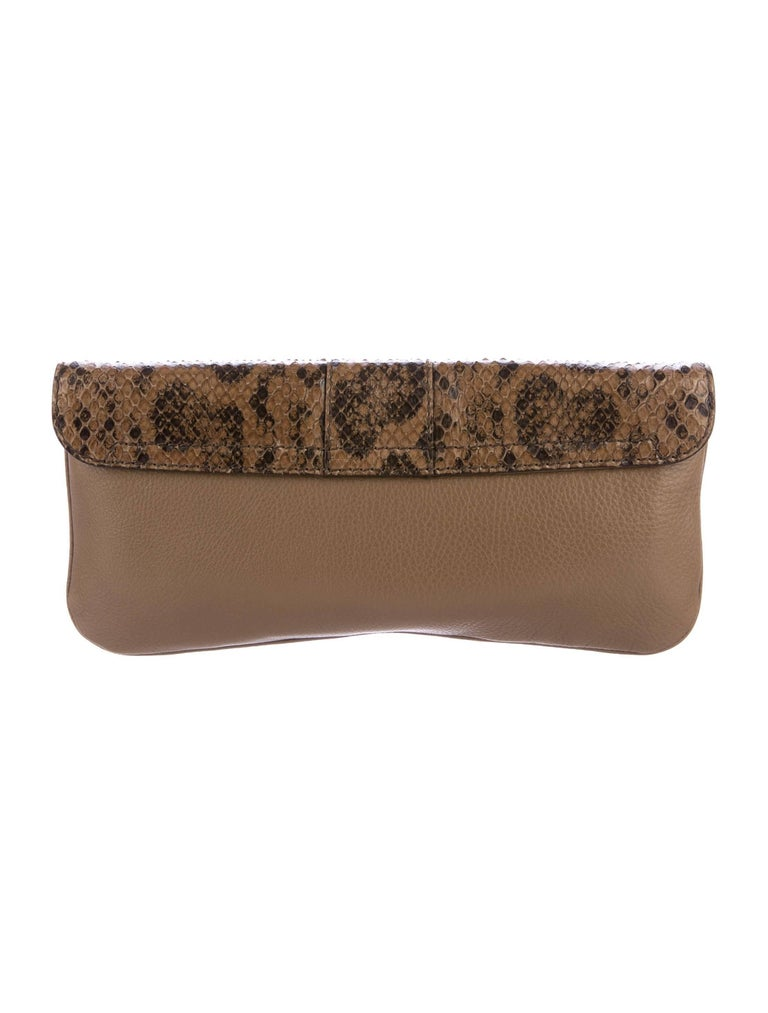 Gucci Taupe Snakeskin Leather Gold Horsebit Evening Envelope Flap Clutch Bag 1