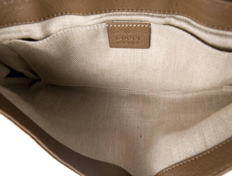 Gucci Taupe Snakeskin Leather Gold Horsebit Evening Envelope Flap Clutch Bag 2