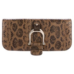 Gucci Taupe Snakeskin Leather Gold Horsebit Evening Envelope Flap Clutch Bag