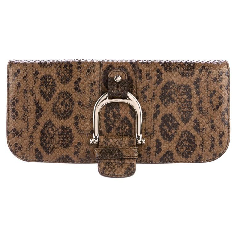 Gucci Taupe Snakeskin Leather Gold Horsebit Evening Envelope Flap Clutch Bag