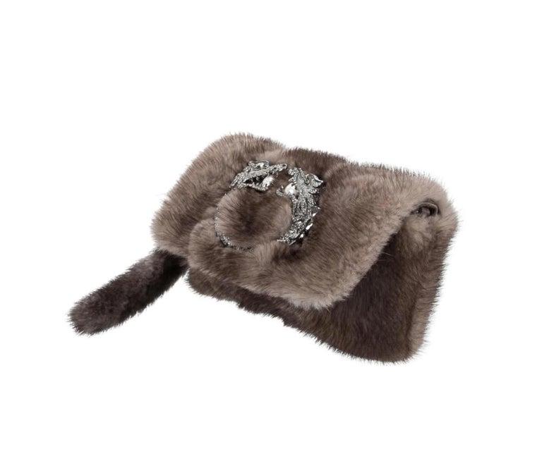 Black Gucci Taupe Tan Fur Pearl Small Evening Handle Wristlet Clutch Bag