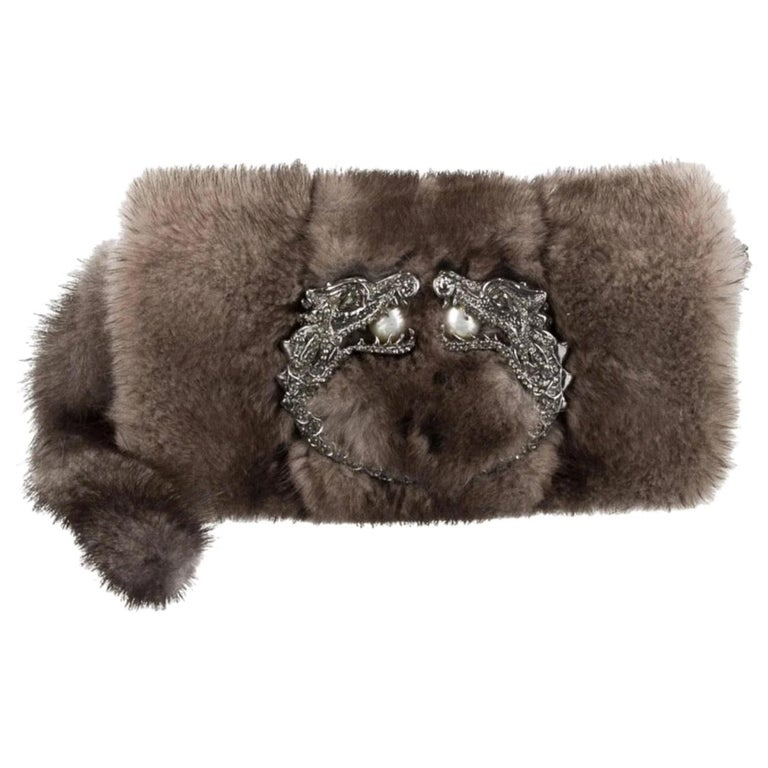 Gucci Taupe Tan Fur Pearl Small Evening Handle Wristlet Clutch Bag