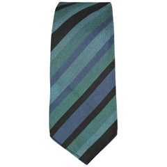 GUCCI Teal Blue Green Striped Cotton / Silk Skinny Tie