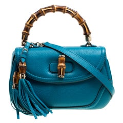 Gucci Teal Blue Leather Tassel New Bamboo Top Handle Bag