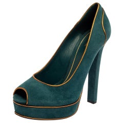 Gucci Teal Green Suede And Gold Leather Piping Detail Peep Toe Pumps Size 39.5