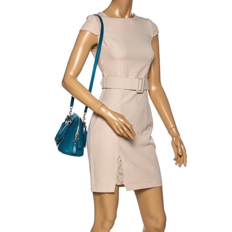 Blue Gucci Teal Microguccissima Leather Mini Nice Dome Bag For Sale