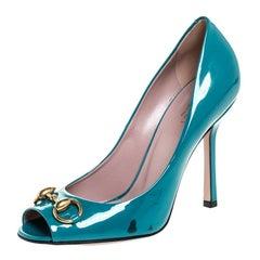 Gucci Teal Patent Leather Jolene Horsebit Peep Toe Pumps Size 37.5