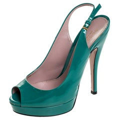 Gucci Teal Patent Leather Sofia Platform Peep Toe Slingback Sandals Size 36