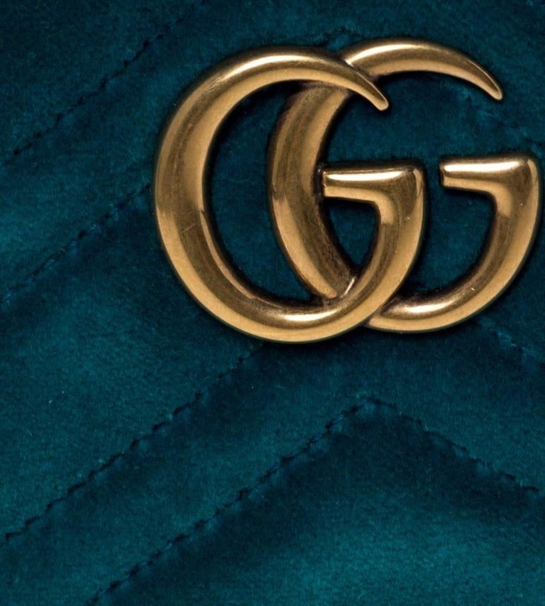 Gucci Teal Velvet GG Marmont Belt Bag For Sale 6