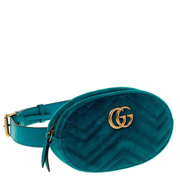 Gucci Teal Velvet GG Marmont Belt Bag In Excellent Condition For Sale In Dubai, Al Qouz 2