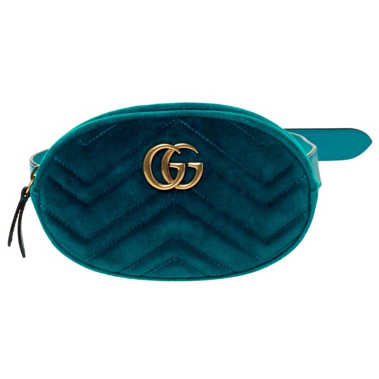 Gucci Teal Velvet GG Marmont Belt Bag For Sale