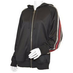 Gucci Technical Jersey Track Jacket Red and Navy Web, Swarovski Crystal Trim XL