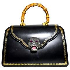 Gucci Thiara Calfskin Embellished Jaguar Bamboo Top Handle Bag