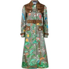 GUCCI Tian Print GG Supreme Leather Trench Coat IT38 US2