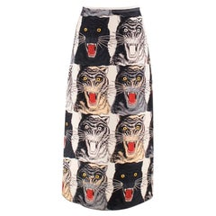 Gucci Tiger Head Printed Silk Skirt XS 36