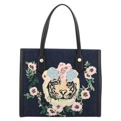 Gucci Tiger Pearl Tote Embroidered Denim Medium
