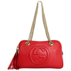 Gucci Tobasco Red Pebbled Calfskin Small Soho Chain Shoulder Bag rt $1,350