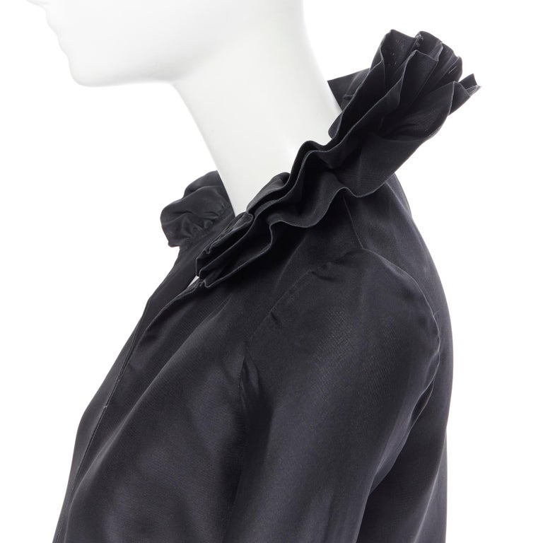 GUCCI TOM FORD AW00 Vintage 100% silk black Victorian plunge neck ruffle dress M Brand: Gucci Designer: Tom Ford Collection: Fall Winter 2000 Runway Model Name / Style: Silk dress Material: Silk Color: Black Pattern: Solid Closure: Zip Extra Detail: