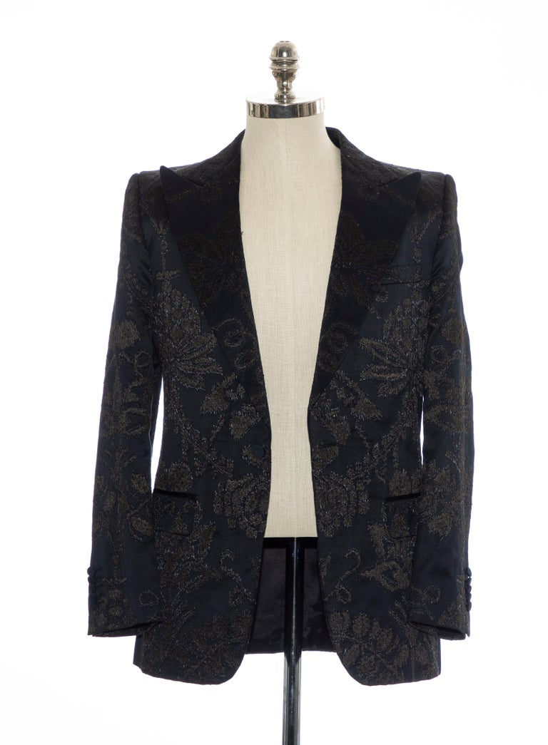 Gucci Tom Ford Black Satin Jacquard Tuxedo Blazer, Spring 2000 For Sale 6