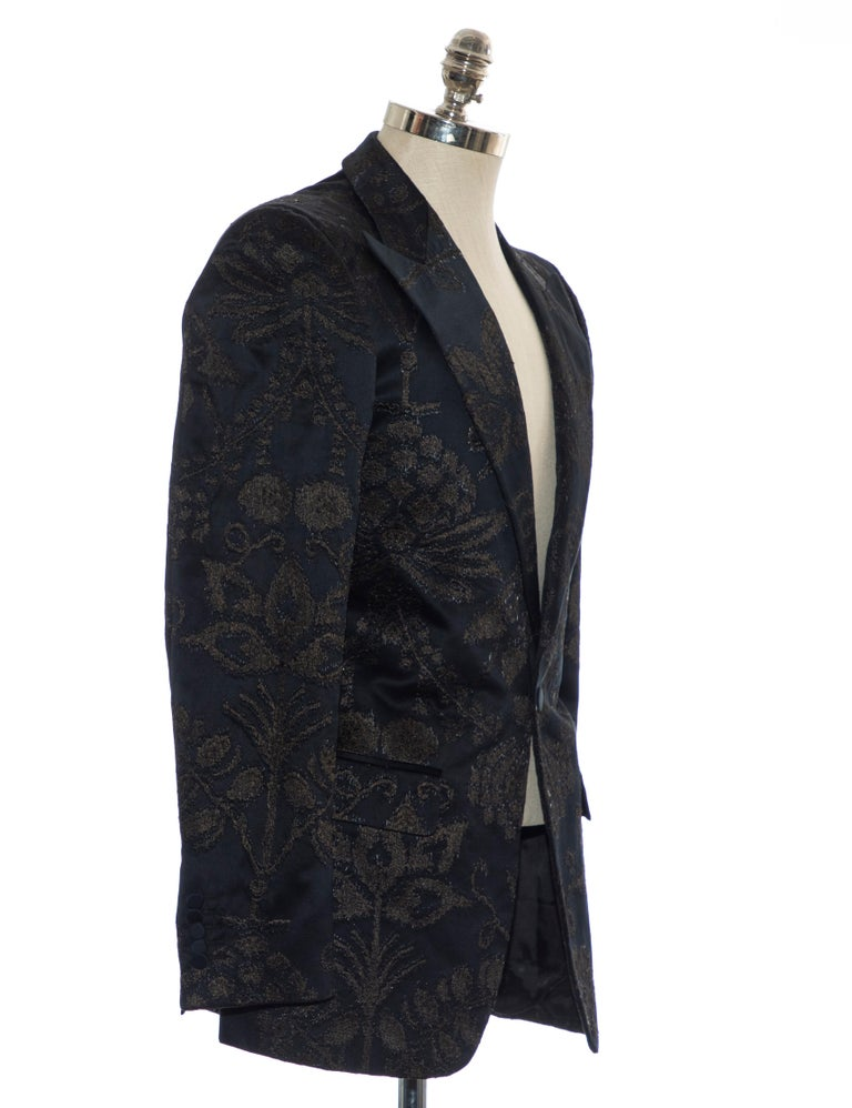 Gucci Tom Ford Black Satin Jacquard Tuxedo Blazer, Spring 2000 In Excellent Condition For Sale In Cincinnati, OH