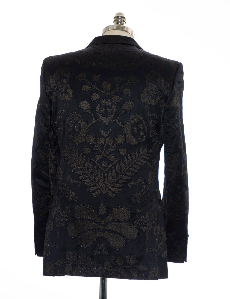 Gucci Tom Ford Black Satin Jacquard Tuxedo Blazer, Spring 2000 For Sale 2